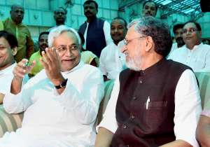 Nitish Kumar and Shushil Kumar Modi after they were- India Tv
