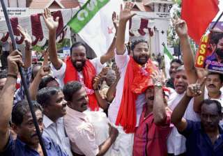 Left supporters celebrating their victory in Assembly polls in Thiruvananthapuram.