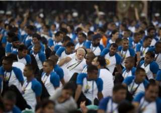 PM Modi, dressed in a white-coloured t-shirt and trouser along with a scarf, led over 30,000 participants, including defence forces personnel and school children.