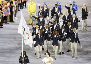 Flagbearer Rose Nathike Lokonyen (ROT) of the Refugee Olympic Athletes led the contingent during the Rio 2016 Olympic opening ceremony