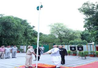Union Home Minister Rajnath Singh hoisting the National Flag on 70th Independence Day Celebrations, at his residence in New Delhi.