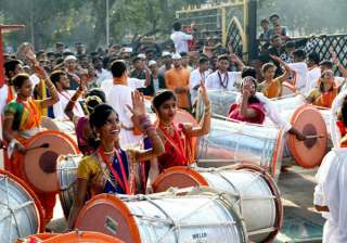 Youngsters dance in celebration of Diwali in Thane, Mumbai