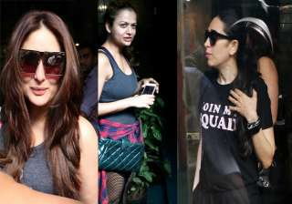 Actresses Karisma Kapoor, Kareena Kapoor Khan and Amrita Arora who are BFFs of Bollywood were spotted outside a restaurant in Mumbai. The beautiful divas were caught having fun. The three ladies were dressed casually still they were looking stylish as always.