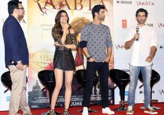 Sushant Singh Rajput and Kriti Sanon sizzled at the trailer launch of their much awaited romantic film Raabta. Kriti looked dapper in her classy black shorts which she paired with a military coloured top.