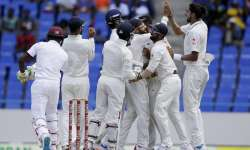 Indian players celebrate win of fall of a West Indies'- India Tv