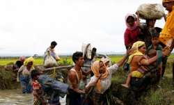 File pic - A group of Rohingya refugees after crossing the