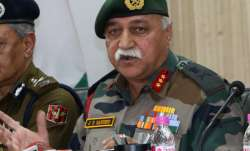 Lt General J.S. Sandhu addresses a press conference in