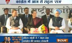 Rahul Gandhi shares stage with Sonia and Manmohan.