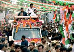 Rahul Gandhi at a road-show in Lucknow on Friday