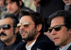 A file image of Imran Khan and Shahid Afridi.