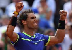 Rafael Nadal reacts after winning the French Open men's