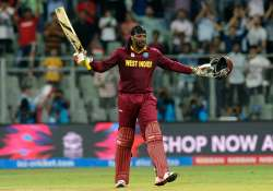 Chris Gayle of the West Indies celebrates his century