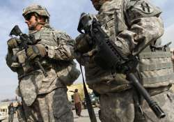 US soldiers stand guard near in Kabul, Afghanista