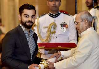Virat Kohli receives Padma Shri award at...