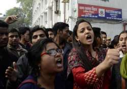 students protest outside police station over woman s murder