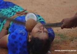 blind trust wife allows husband to smash coconut placed on