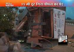 speeding truck uproots tree in delhi