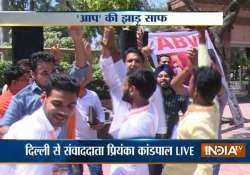 dusu election abvp trounces nsui cyss to win all 4 seats