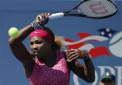 us open serena williams overcomes 3 early double faults to