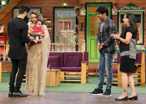 The leading lady of Rangoon, Kangana had a gala time with a toddler on 'The Kapil Sharma Show'
