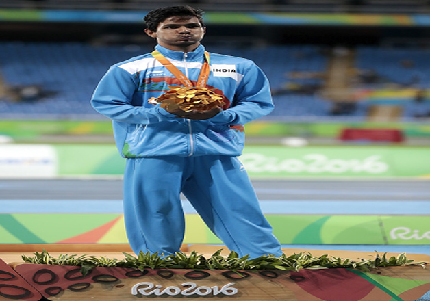 Bronze medalist Bhati Varun Singh of India at the podium during the medal ceremony for the Men's High Jump F42 Final at the Rio 2016 Paralympic Games at the Olympic Stadium on September 9, 2016 in Rio de Janeiro, Brazil.