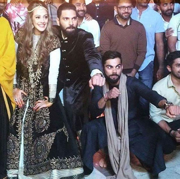 Yuvraj and Hazel had the time of their lives at the grand sangeet ceremony where they were seen posing with the cricketers including Virat Kohli.