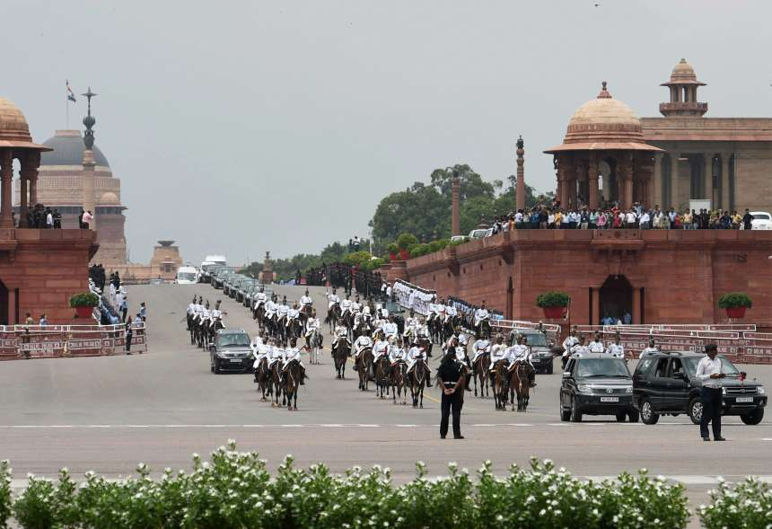 The Presidential cavalcade heads towards the Parliament for oath taking ceremony of Ram Nath Kovind as the 14th President of India