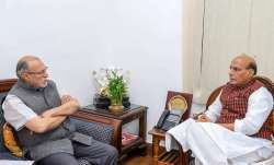 Union Home Minister Rajnath Singh with Lieutenant Governor