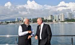 PM Narendra Modi meeting Vladimir Putin in Sochi.