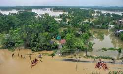 An aerial view of flood-affected Kailashahar town in