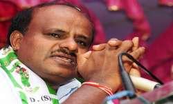 Karnataka Chief Minister H D Kumaraswamy gets emotional