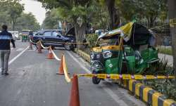 The mangled remains of the auto rickshaw which was hit by a
