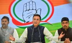 Congress Spokesperson Randeep Singh Surjewala addresses a