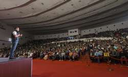 Congress President Rahul Gandhi addresses during an