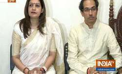 Priyanka Chaturvedi and Uddhav Thackeray addressing the