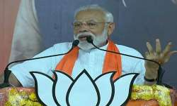 Prime minister Modi addressing the public in Ahmedabad,