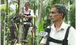 Ganapathi Bhatinvented ingenious motorbike to climb Areca