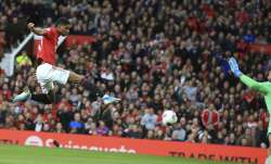 Manchester United's Marcus Rashford scores his side's