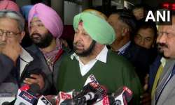 Punjab CM Captain Amarinder Singh addressing reporters on