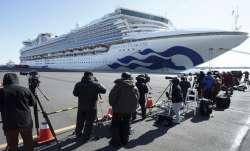 The cruise ship Diamond Princess is anchored off the Yokohama Port in Yokohama, near Tokyo.