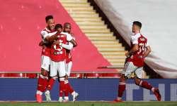 Pierre-Emerick Aubameyang of Arsenal celebrates after he