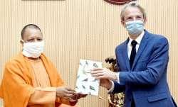 Uttar Pradesh Chief Minister Yogi Adityanath and Ambassador of France to India Emmanuel Lenain