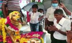 A man in Ampapuram in Krishna district, erected a statue of