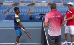 Sumit Nagal (left) with Daniil Medvedev (right) before the