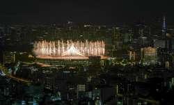 Fireworks illuminate over National Stadium during the