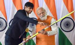 PM Narendra Modi with the Olympic Gold Medalist Neeraj