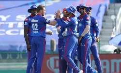 Anrich Nortje of Delhi Capitals celebrates the wicket of