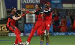 Harshal Patel celebrates after taking hat-trick
