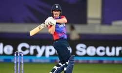 Eoin Morgan of England hits runs during the ICC Men's T20 World Cup match between England and West I