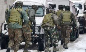 Security personnel take positions during an encounter with